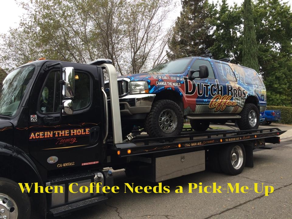 Ace In The Hole Towing Company loves Dutch Bros Coffee, and when they need a pick-me-up, we are there to help. We provide all types of roadside assistance and towing service in Roseville around the clock, 365 days a year, and plan to remain the number one towing company in Roseville for years to come. For tire change service, help with a dead battery or for towing service in Roseville, call the best. Call Ace In The Hole Towing Company. We are ready to help in Roseville CA 24/7